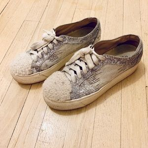Faux snake skin and shearling platform sneakers